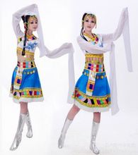 Mongolia clothing for women minority dance costume for women blue chinese national clothing long sleeve
