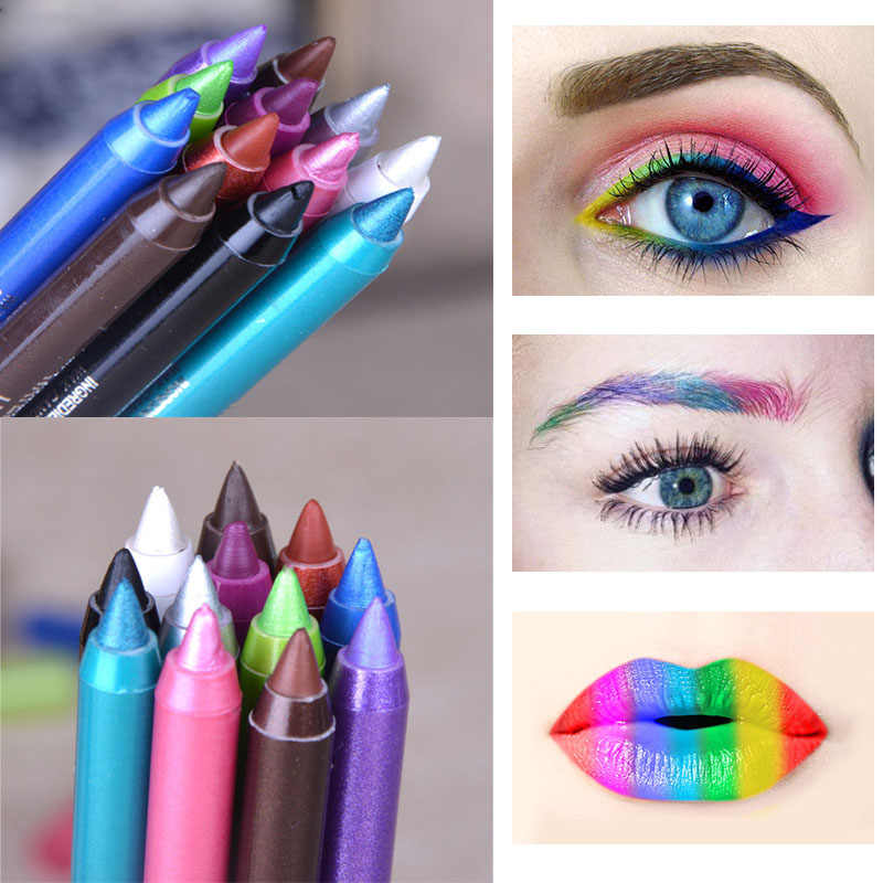 Professional Colorful Eye Liner Pencils Lot Waterproof 12 Color Pigment Silver White Shimmer Color Pen Eyeliners Cheap Makeup