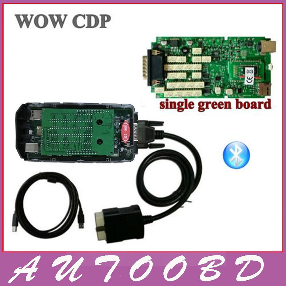 Single Board WOW CDP Snooper OBD obdii scanner 5.008R2 with keygen with bluetooth for car and truck professional diagnostic tool single green board multidiag pro 2014 r2 keygen