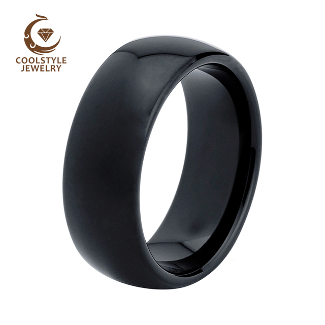 8mm Clic Black Domed Tungsten Ring For Men Women Polished Shiny Wedding Band Size 4