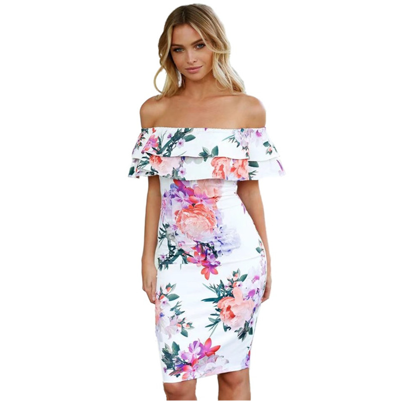 61aaaadc4ad White Dresses for Women 2019 Fashionnova Ladies Party Dress Casual  Summerdress Slash Neck Ruffles Plus Size Clothing for Women