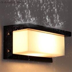Proste nowoczesne europejskie lampa ścienna zewnętrzne wodoodporne led oświetlenie ganku kinkiet ścienny aluminium ogród balkon przejściach i korytarzach oświetlenie dekoracyjne|Zewnętrzne kinkiety LED|   -