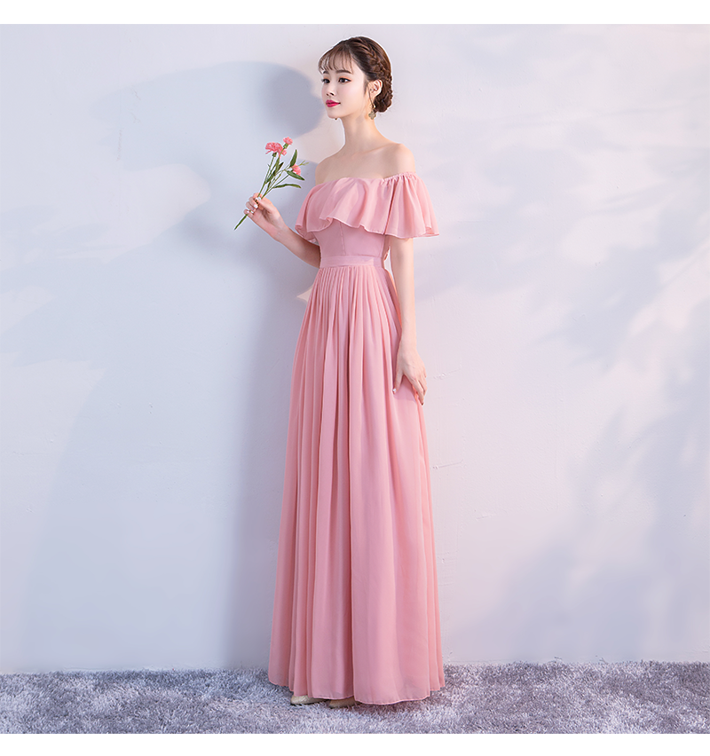 Perfect Pink Colour New Style Chiffon Bridesmaid Dress  Simple  Fashion Sister Dress For Wedding Party Show Back Of Zipper