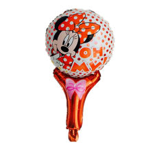 Minnie cartoon hand held Foil balloon Balloons Minnie printed handheld balloon toys for Kid Gift party layout(China)
