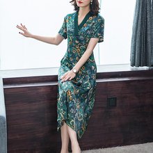 Green Silk Dress Plus Size High Quality Women 2019 Floral Midi Party Night Dresses v-neck Robe Summer Elegant Vintage Clothing summer green silk chiffon dress for women plus size large high quality robe midi dresses elegant vintage sleeveless clothing