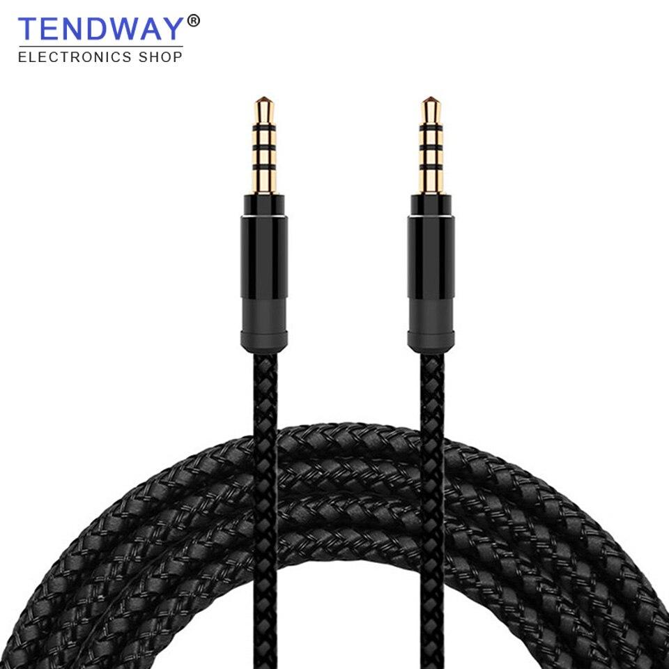 Tendway jack 3.5mm cabo de áudio náilon trança 3.5mm carro aux cabo 1.5 m fone de ouvido código extensão para telefone mp3 carro fone de ouvido alto-falante