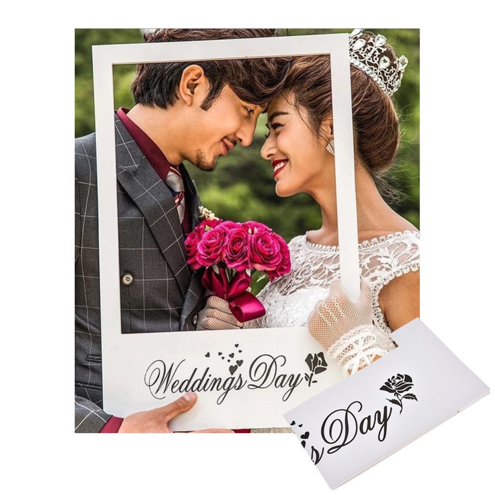 White Color Handheld Photo Frame Wedding Party Decoration Photo ...