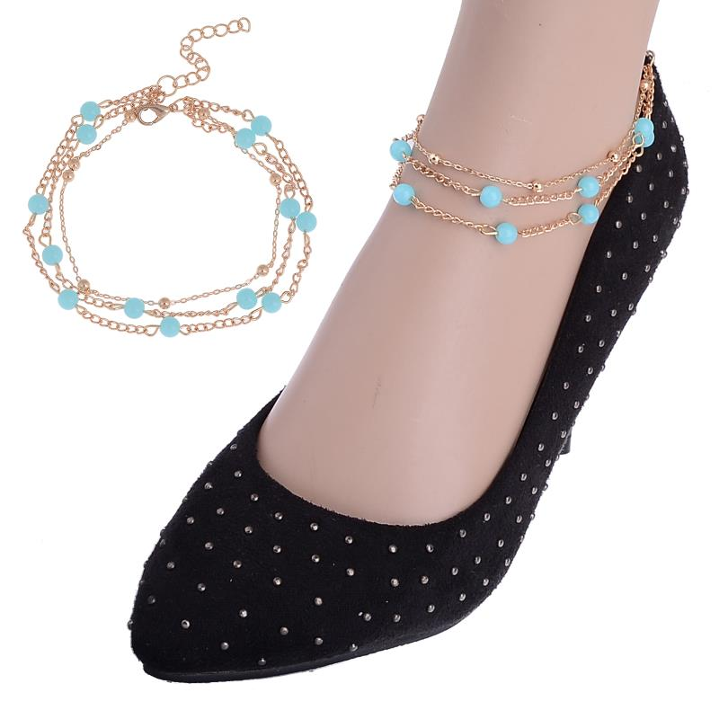 6bff5768fd32 Double Rows Ankle Stone Beads Chain Anklet Foot Jewelry for women Silver  plated Flower Barefoot Beach Jewelry Free Ship