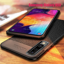 Luxury Soft TPU Silicone Phone Case For Samsung Galaxy A10 A30 A40 A50 A70 Leather Grained Litchi Pattern Shockproof Back Cover