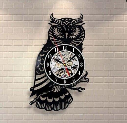 b552dc28762 Hot CD Vinyl Record Wall Clock Modern Design Animal Dog Cat Horse Wall  Watch Classic Clock Relogio Parede