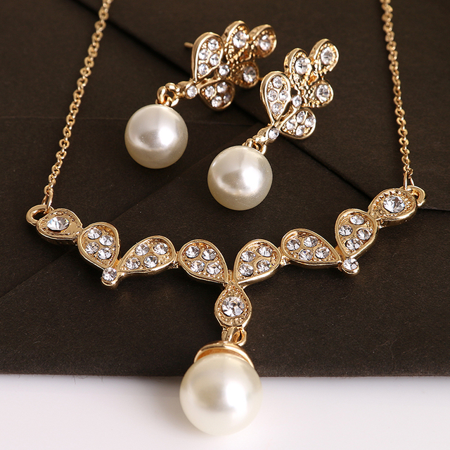Luxury Brand Imitation Pearl Necklace Earrings Wedding Jewelry Sets
