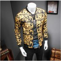 2017 Gold Printing Jacket Mens Luxury Baroque Slim Fit Fashion Outerwear Plus Size Big Size 5XL