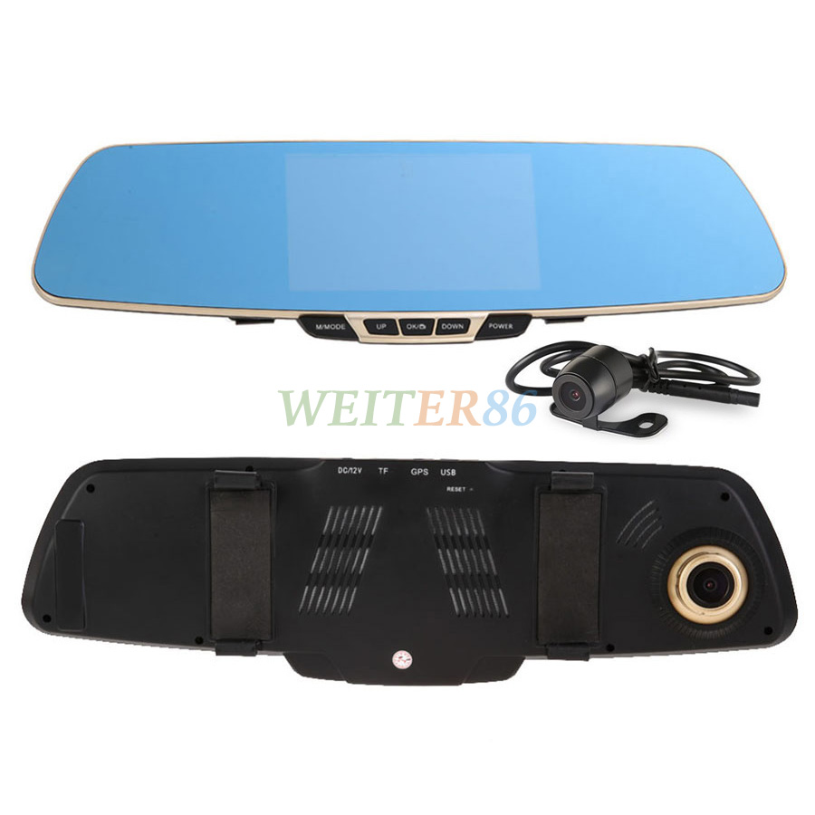 5 0 Inch Dual Camera Car Dvr Camera Rearview Mirror Dash Cam Dual Lens G Sensor