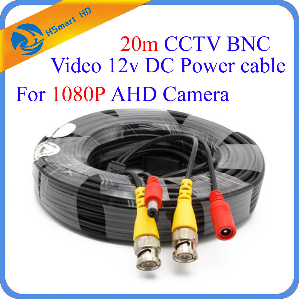 New 60ft feet CCTV BNC Video 12v DC Power HD IR Camera Cable 20m for Security 1080P IR AHD TVI CVI CCTV Security Camera DVR mool 100 feet pre made siamese bnc video and power cable ready to go for security camera cctv systems
