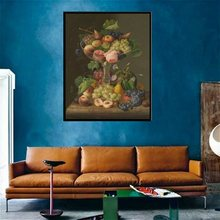Realist Still Life Fruits Plate Grape Peach Watermelon Oil Artwork Print Canvas Art Wall Painting for Living Room Decor Shipping