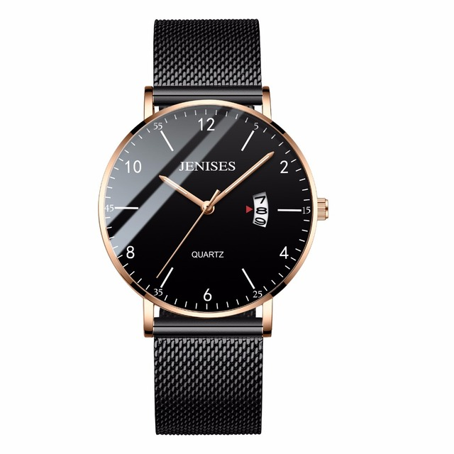 2018 New Ultra Slim Men's Watch Steel Mesh Waterproof Quartz Wristwatch Simple B