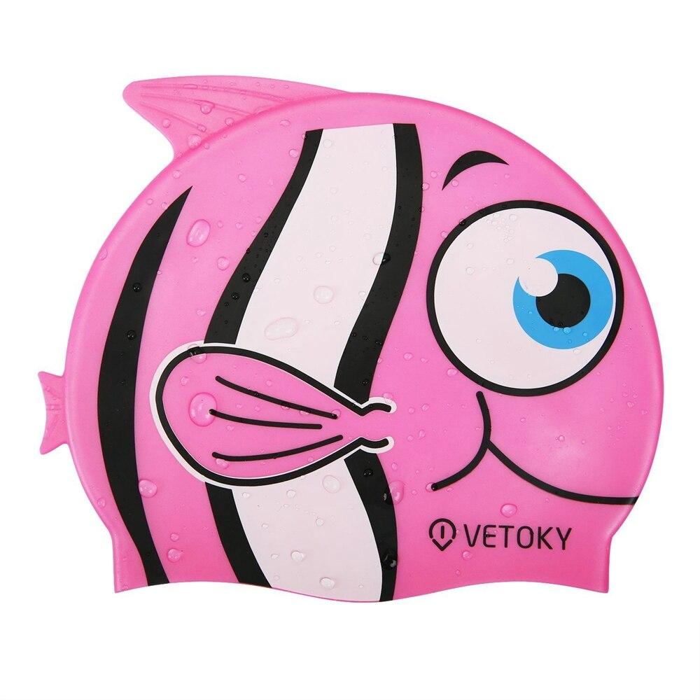 Pink fish girl swimming caps