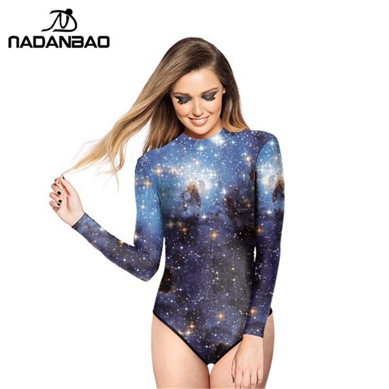 New Brand Surfing Bathing Suit Galaxy Star Printed Women Swimwear Loog Sleeve Zippered One Piece Swimsuit Galaxy Bodysuit Y02005 щётка new galaxy