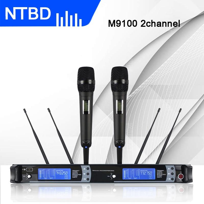 NTBD Thuis KTV Party Stage Performance Spreken Rap Anker M9100 Professionele Dual Draadloze Microfoon 2 Kanaal 2 handheld Dynamische