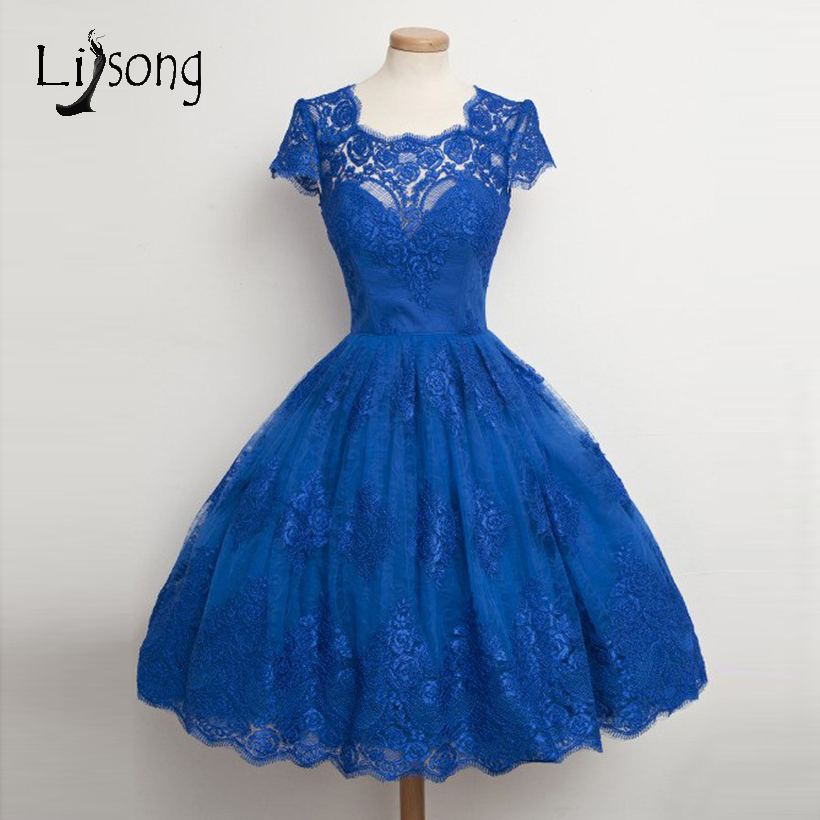 Royal Blue Lace Formal Party   Dress   Knee Length   Cocktail     Dresses   Fashion Girls   Dress   For Graduation Short Sleeves Gowns Abiye
