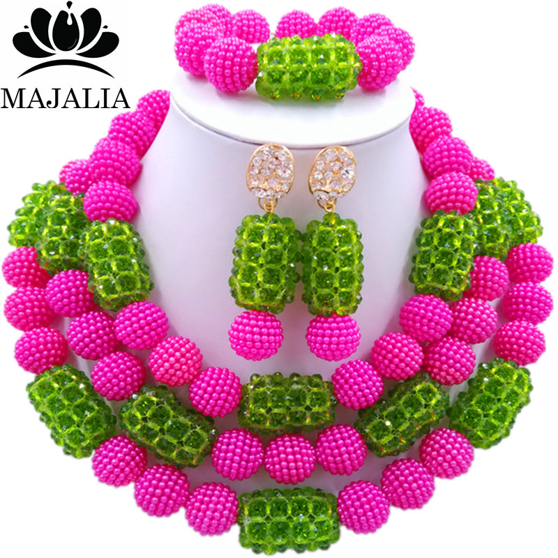 все цены на Majalia Fashion Charming Nigerian Wedding African Jewelry Set Hot Pink and Green Crystal Necklace Bride Jewelry Sets 3SZ080 онлайн