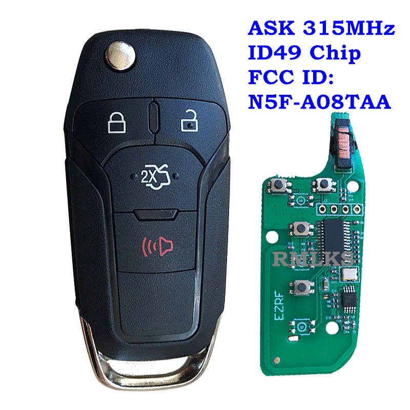 Replacement Folding Remote Key Fob 315MHz Electronic ID49 Chip Fit For Ford Fusion 2013 2014 2015 2016 N5F-A08TAA