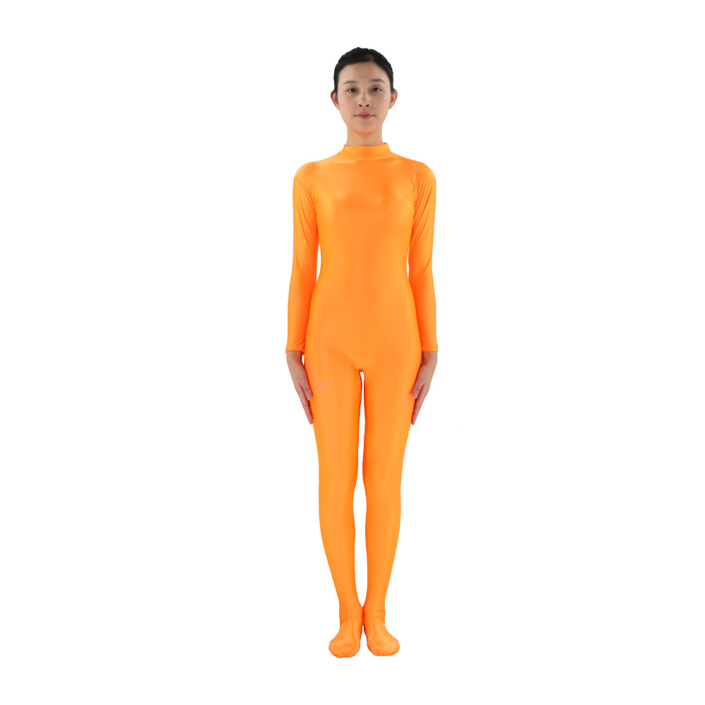 Adult Lycra Spandex Zentai Turtleneck Full Body suit Unitard Women Long Sleeve Zentai Orange Women's Catsuit Dancewear