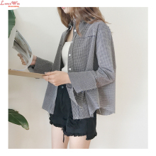 Absorbent Classic Plaid Turn-down Polo Collar Unique Raw Edge Popular Long Sleeve Shirt Summer Cardigans Shirt Coat