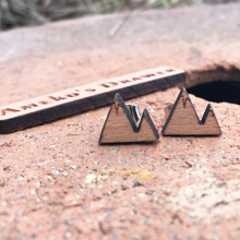 Mountain Studs Small Handmade Hill Wood Earrings X 1 Pair