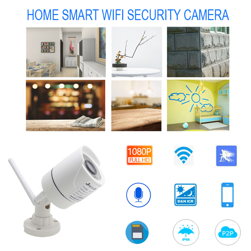 JIENUO 1080P Wifi Camera ip Cctv Wireless Security Outdoor Waterproof 2 0mp HD Surveillance Audio IPCam Infrared TF Card Slot in Surveillance Cameras from Security Protection