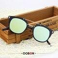 Oobon 2017 diseñador de la marca de metal plano femenino cat ojo colorido revestimiento reflectante gafas de sol vintage mujer de los hombres gafas de sol