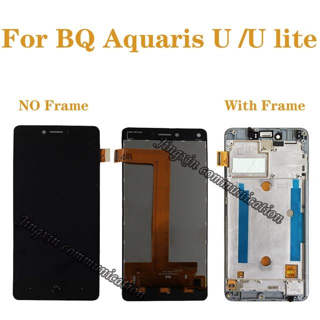 """5.0 """"สำหรับ BQ Aquaris U Lite LCD + touch digitizer เปลี่ยนสำหรับ BQ Aquaris U จอแสดงผลซ่อมอะไหล่กรอบ"""