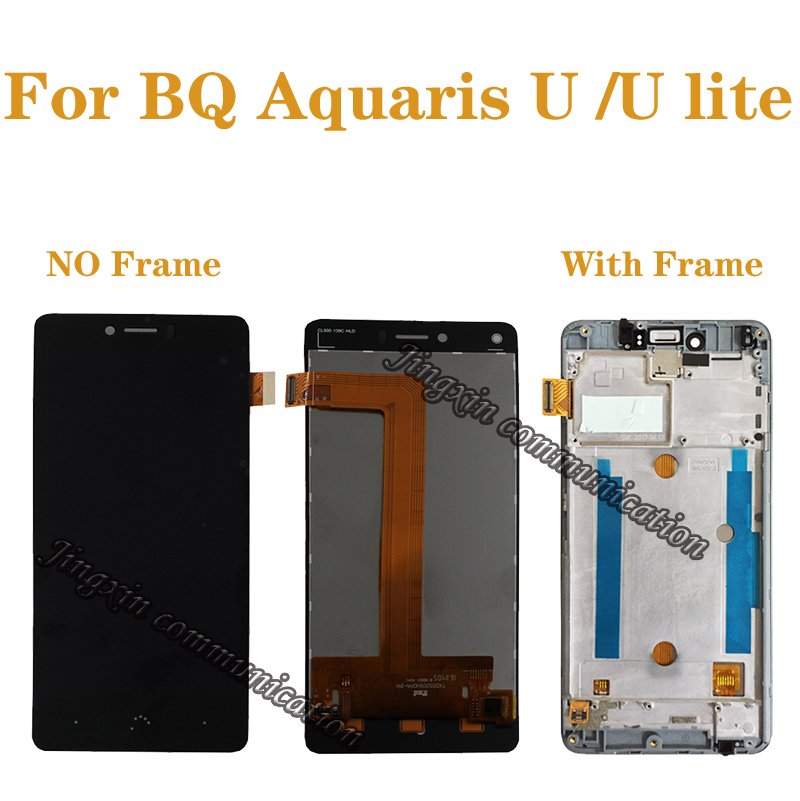 """5.0"""" for BQ Aquaris U Lite LCD + touch screen digitizer assembly replaced with for BQ Aquaris U display repair parts with frame-in Mobile Phone LCD Screens from Cellphones & Telecommunications"""
