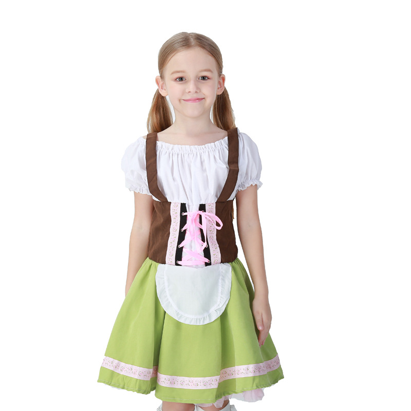Kids Girls Oktoberfest Fancy Dress Heidi German Children Beer Maid Costume Bavarian Dirndl Dress ...