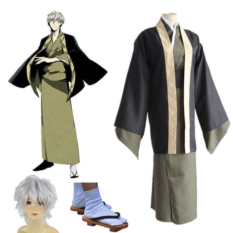 Anime Bungo Stray Dogs Yukichi Fukuzawa Cosplay Costume full set kimono Whole Set  Dress
