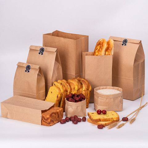 10pcs Kraft Paper Bags Food Tea Small Gift Bags Sandwich Bread Bags Party Wedding Supplies Wrapping Gift Takeout Take Out Bags Pakistan