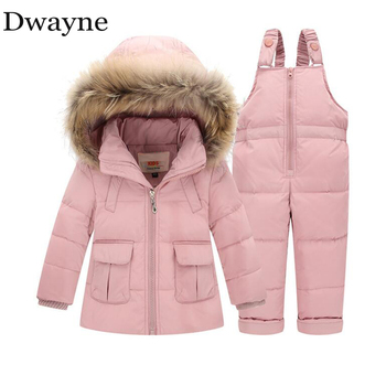 цена на 1 2 3 Years Kids Girls Down Winter Jacket Suit Toddler Infant Baby Boys Snow Wear Down Coats Outfits Children Winter Overalls