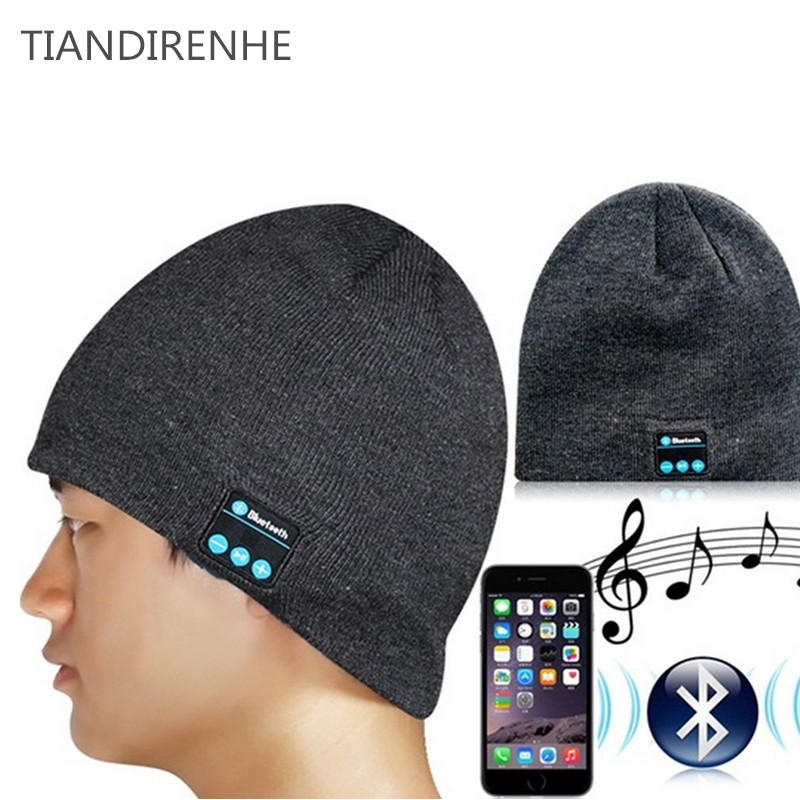 Tiandirenhe Wireless Bluetooth Cap Headphone Knitted Beanie Hat Handsfree Stereo Earphone Winter Outdoor Sport Magic Music Hat unisex winter plicate baggy beanie knit crochet ski hat cap red