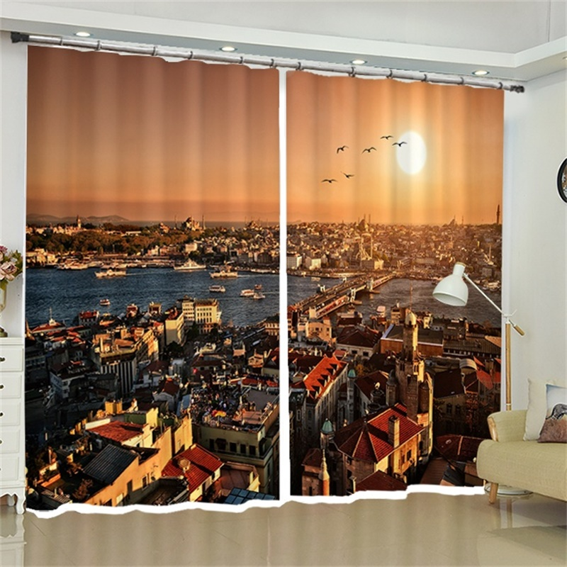 3d Sunset City Scenery Curtains For Living Room Bedroom