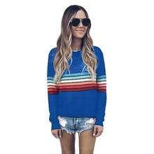 Womens Color Block Stripe T-Shirt Rainbow O Neck Long Sleeve Basic Top Casual Tops Ladies Black White