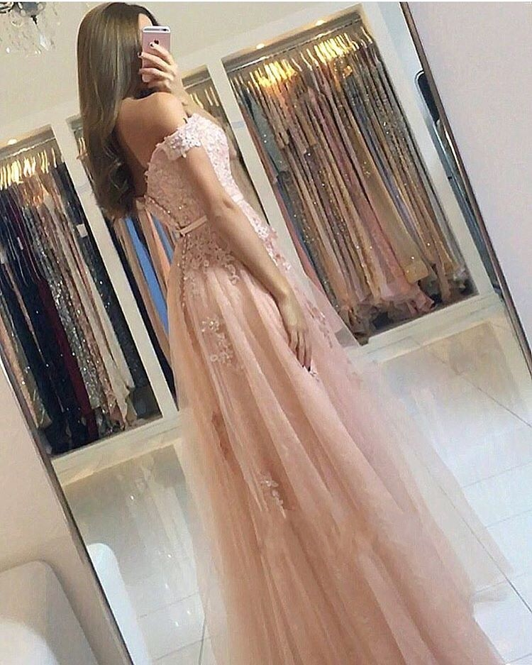 Pink 2019 Prom Dresses A Line Off the Shoulder Sweetheart Beaded Lace Tulle Long Prom Gown Evening Party Dresses Robe De Soiree in Evening Dresses from Weddings Events