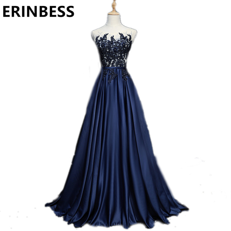 Robe De Soiree 2019 Navy Blue   Evening     Dresses   Sheer Scoop Neck Beaded Pearls Women Formal Gowns Special Occasion   Dress