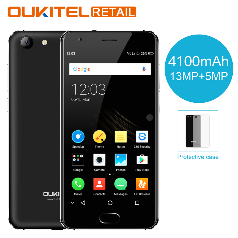 OUKITEL K4000 Plus 5.0 inch Mobile Phone Android 6.0 MTK6737 Quad Core 2GB RAM 16GB ROM 13MP 4100mAh Fingerprint 4G Smartphone