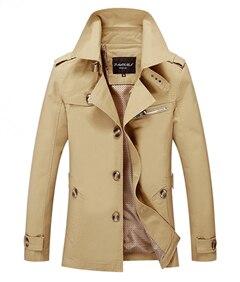 London Style 2017 New Spring Men's Coat Long  Single Button Trench Coat Men Printing Lining Slim Fitting Plus Size XXXL 4XL