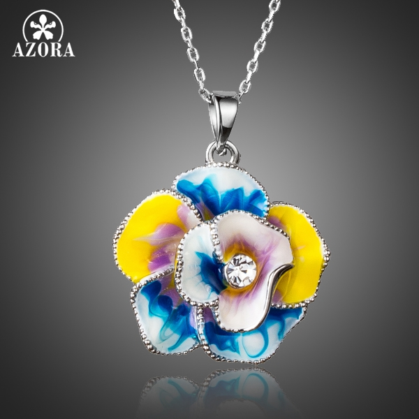AZORA Unique Design Multicolour Stellux Austrian Crystals Oil Painting Pattern Flower Pendant Necklace TN0162 недорого