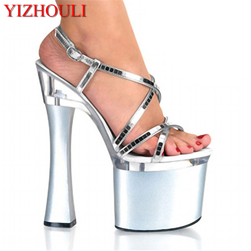 Shining Silver 18CM Sexy Super High Heel Platforms Pole Dance / Performance / Star / Model Shoes, Wedding Shoes 15cm sexy super high heel platforms pole dance performance star model shoes wedding shoes crystal shoes