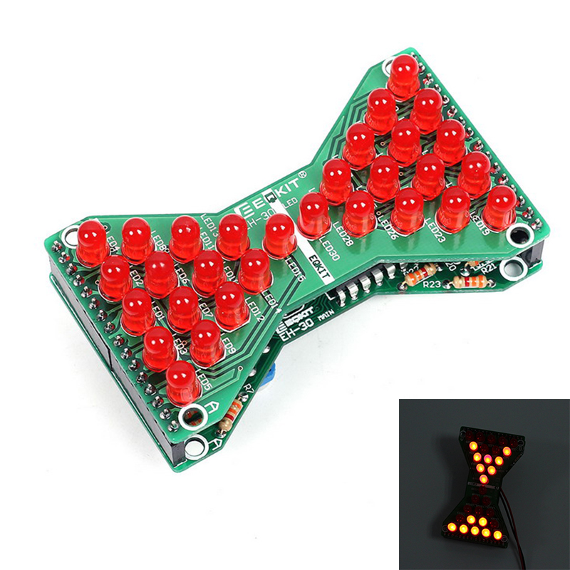 DIY Kit Red LED Adjustable Speed Electronic Hourglass DIY DC 5V Funny Electric Production Kits for Skills Test Teaching