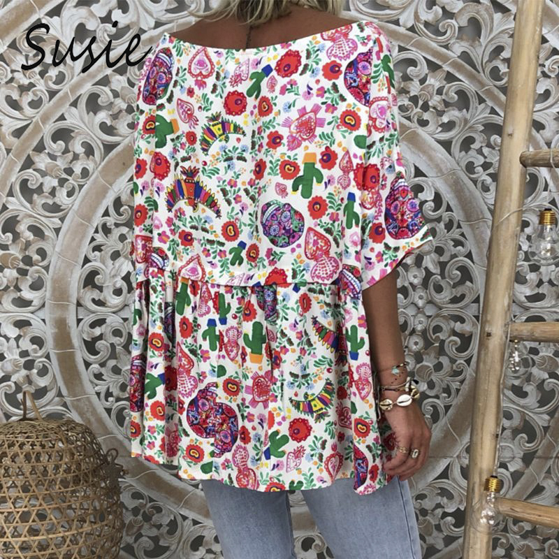 Boho Women/'s Casual Holiday Floral Blouse Summer Vintage Loose Shirt Baggy Tops