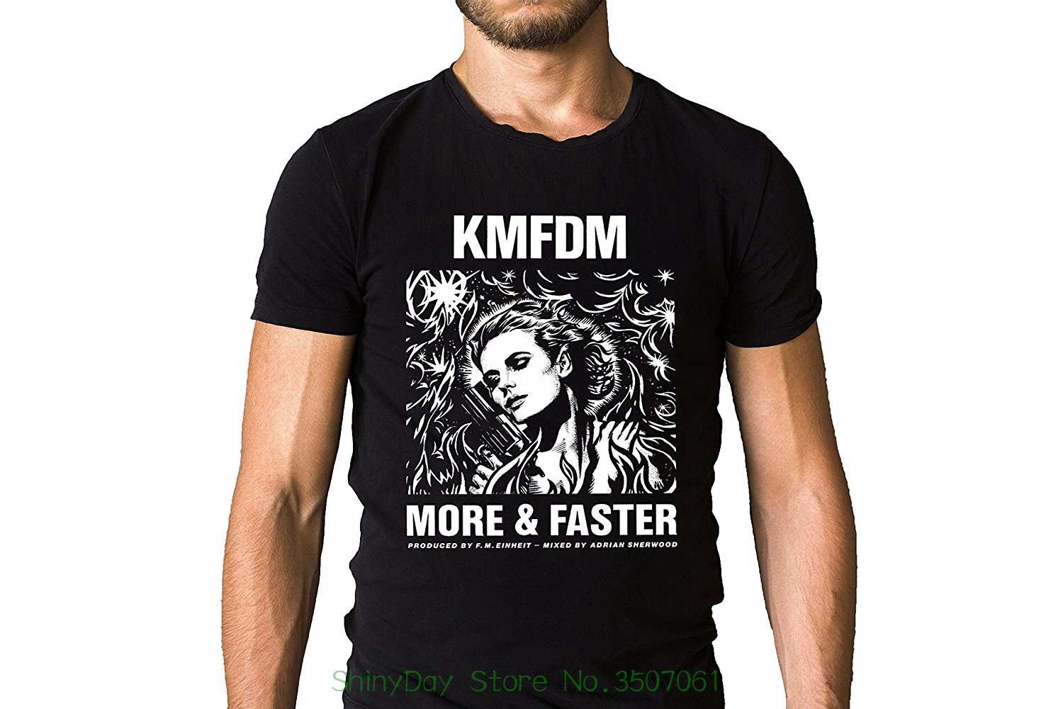 Loose Cotton T-shirts For Men Cool Tops T Shirts Kmfdm More And Faster Song Inspired Black T-shirt