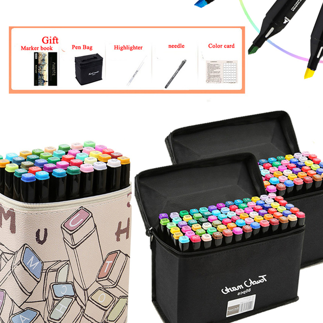 30/40/60/80/168 School Art Supplies Double Head alcohol manga Marker Brush Pen Painting Drawing sketching Art Markers